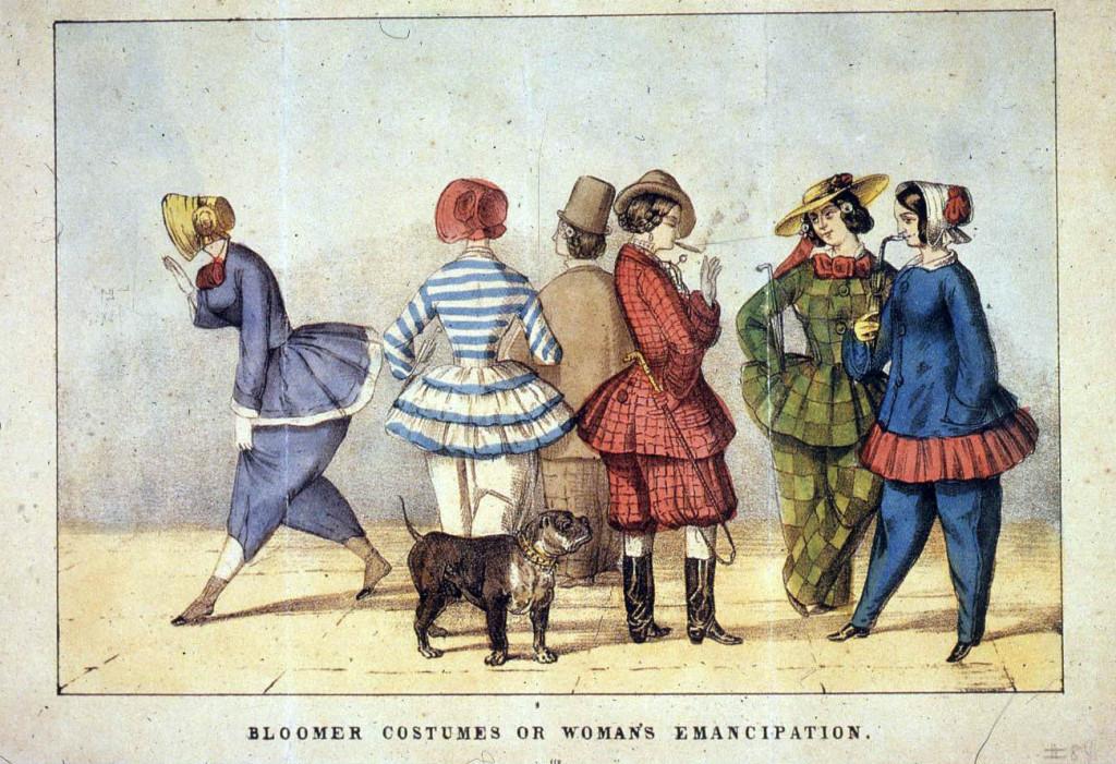 Рис. 1. Блумерські костюми або жіноча емансипація. Малюнок початку 50-х років 19-го століття Джерело: The History Project University of California, Devis